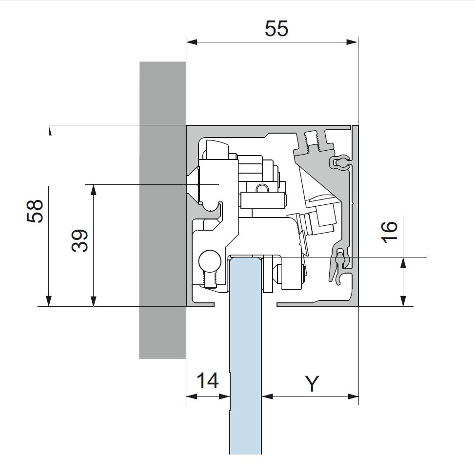 dorma Glasschiebetür Design München MUTO M 60 SoftClose Griffmuschel DX1IXM